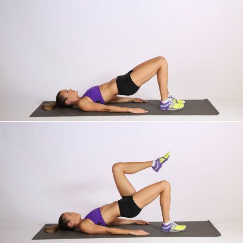 Exercício ponte com elevação (unilateral) de perna